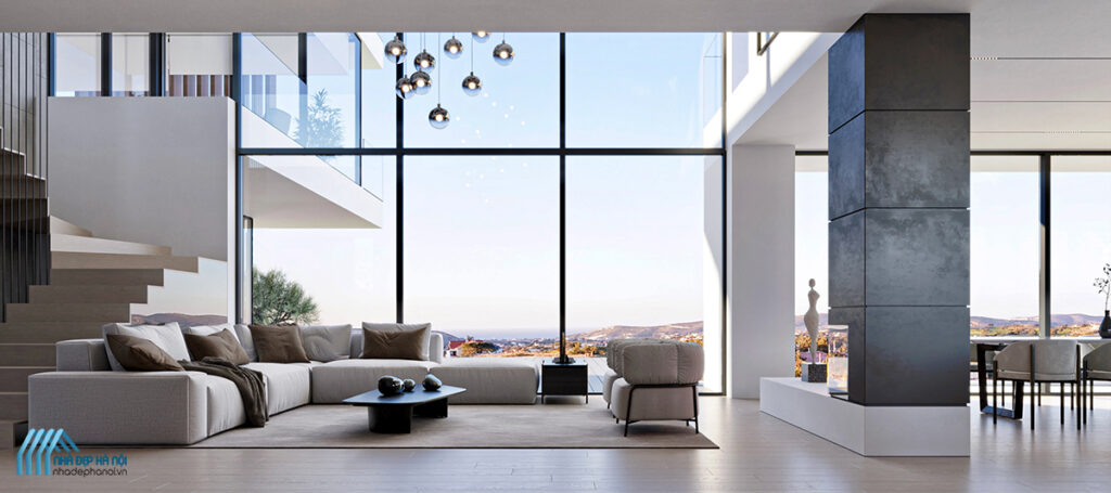 Mẫu thiết kế phòng khách sang trọng, hiện đại cho biệt thự