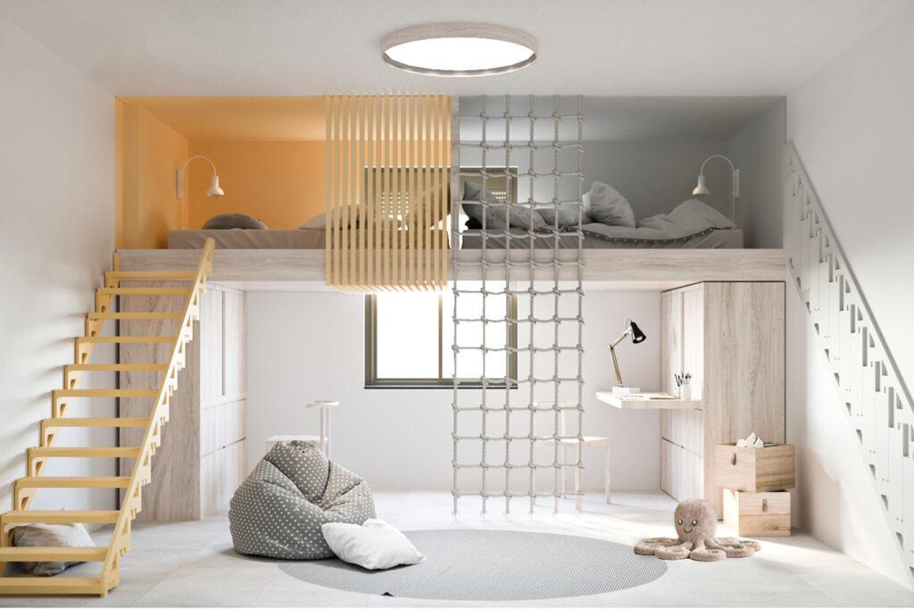 Thiết kế phòng trẻ em hiện đại, đơn giản, tiện nghi cho nhà phố.