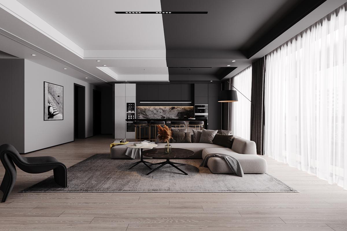 Thiết kế nội thất phòng khách tối giản, đầy đủ tiện nghi cho nhà phố tại Láng Hạ.