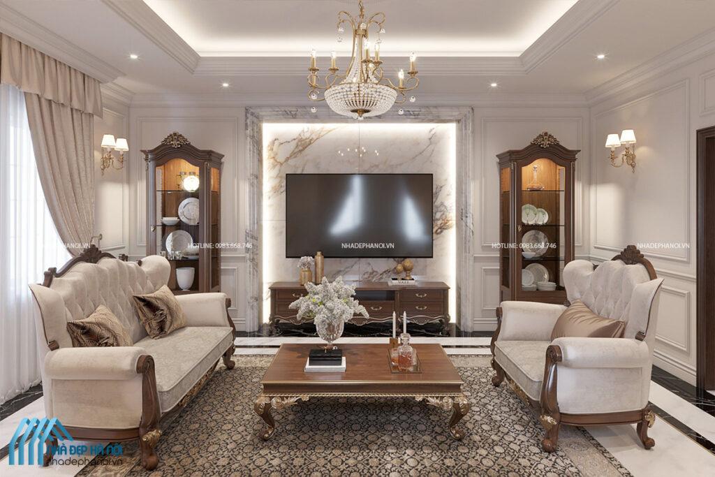 Thiết kế nội thất phòng khách tân cổ điển đẳng cấp và quý phái tại Hà Đông