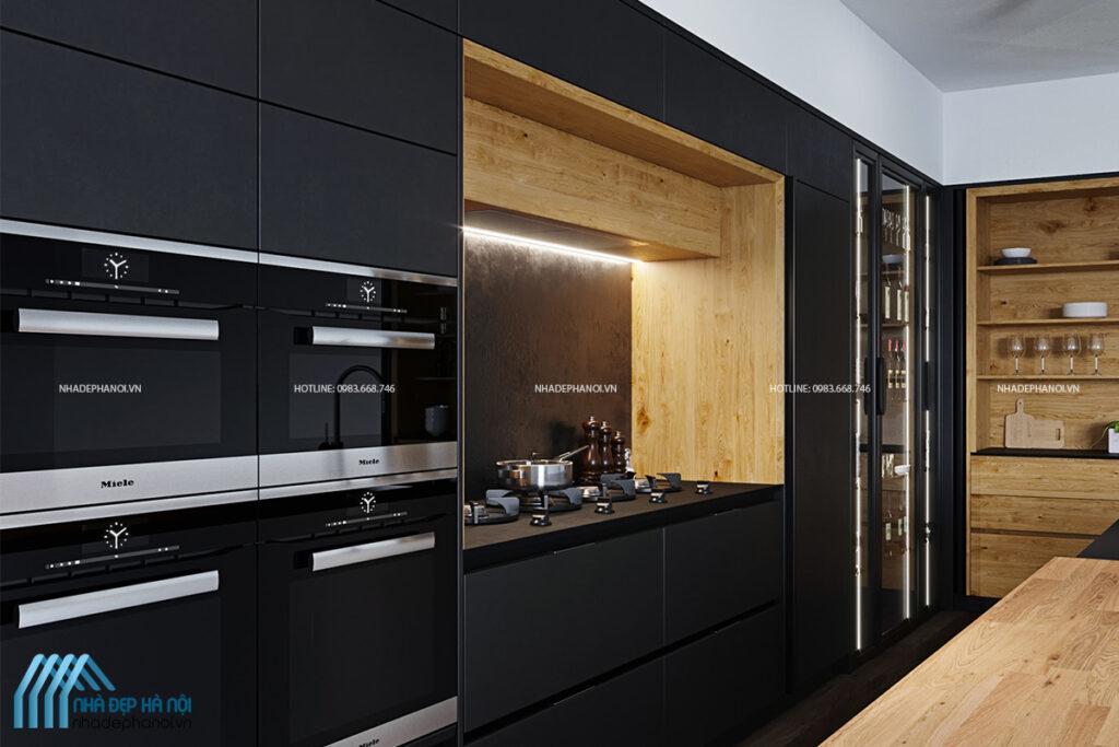 Thiết kế phòng bếp chung cư phong cách hiện đại tại Sun Grand City.