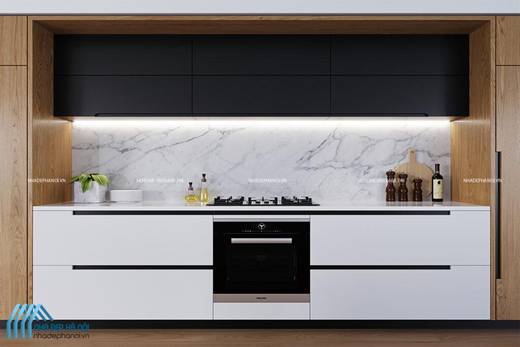 Thiết kế nội thất phòng bếp tối giản (Minimalism) cho nhà phố tại Hà Đông.