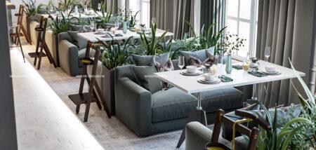 Thiết kế nội thất nhà hàng tại Hà Nội hiện đại với không gian xanh