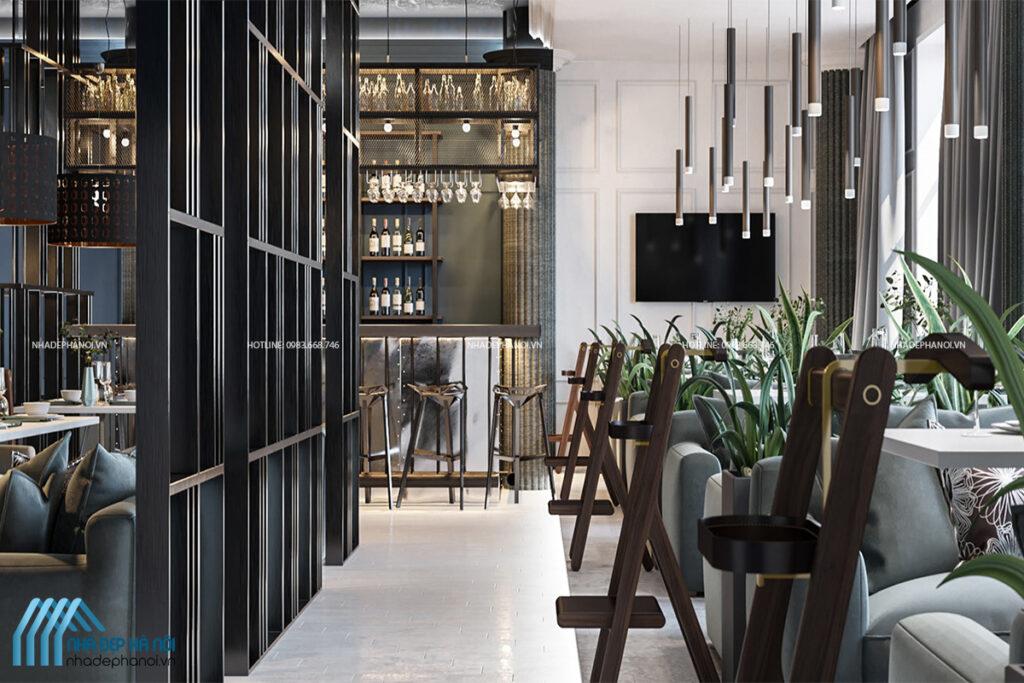 Thiết kế nhà hàng sang trọng hiện đại tại Hà Nội với không gian xanh.