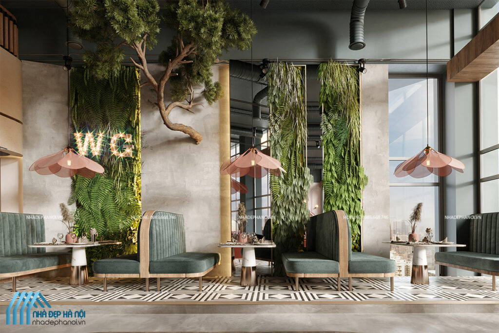 Thiết kế nội thất nhà hàng đẹp phong cách Tropical thanh lịch và tao nhã.