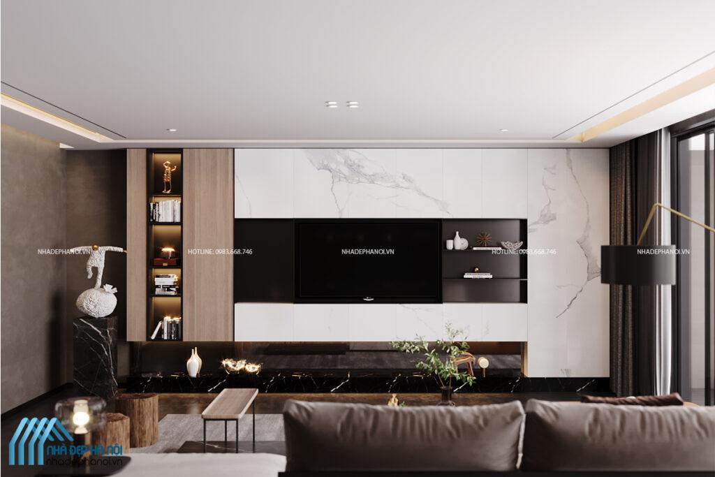 Cách lựa chọn và bài trí kệ tivi phòng khách nhà ống đẹp.