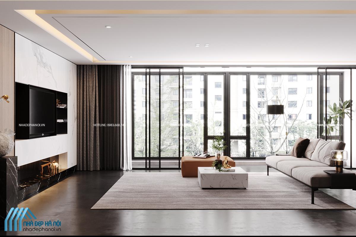 Thiết kế nội thất phòng khách phong cách Rustic hiện đại, ấn tượng cho chung cư The Legacy