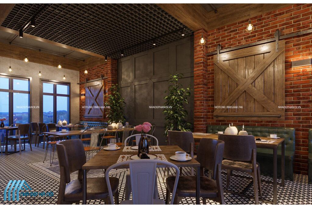 Thiết kế nội thất nhà hàng phong cách Industrial mộc mạc và ấm cúng.