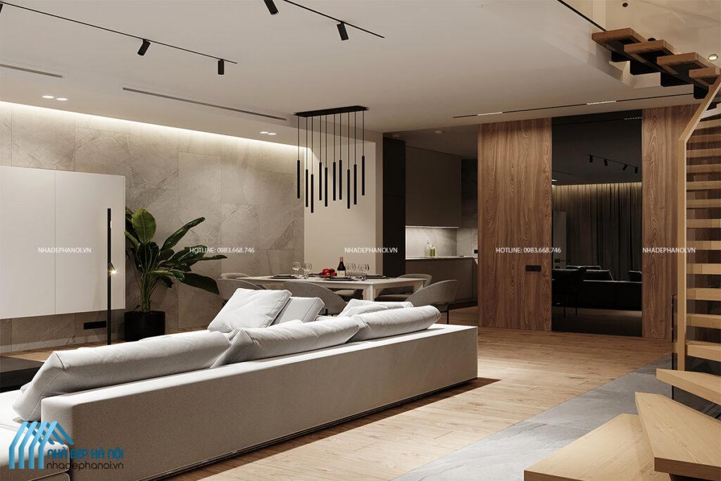 Thiết kế nội thất phòng khách nhà ống trang nhã phong cách hiện đại.