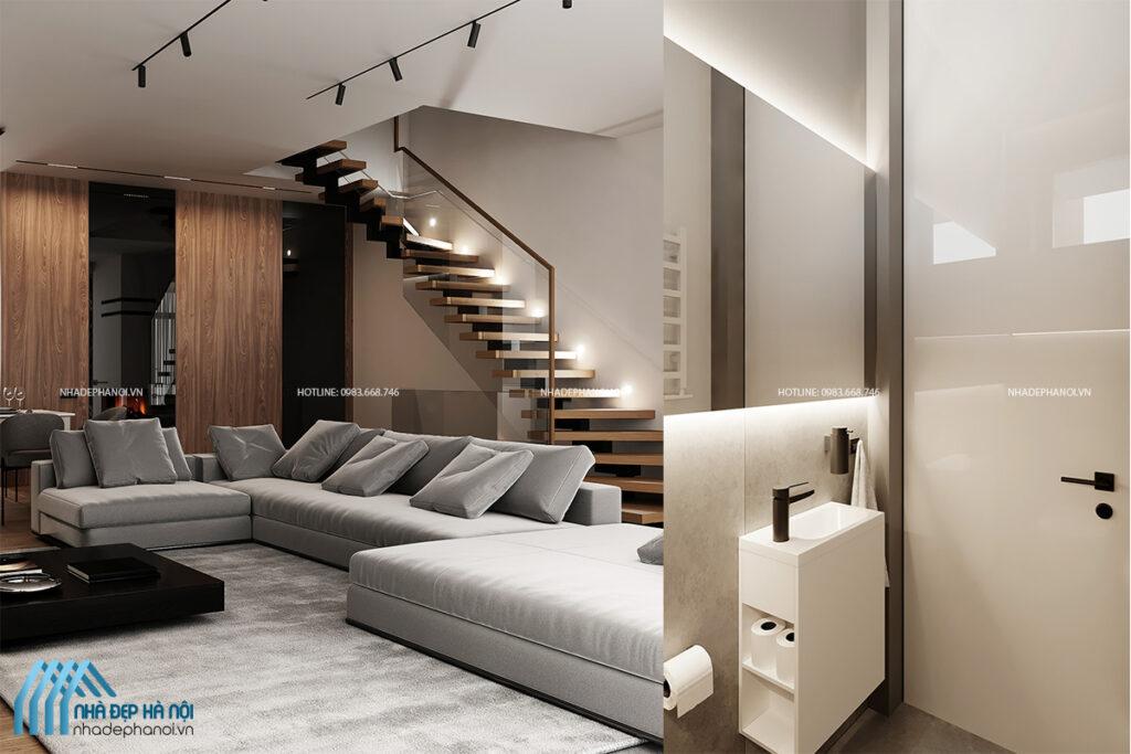 Thiết kế nội thất nhà ống đẹp, ấn tượng theo phong cách hiện đại.