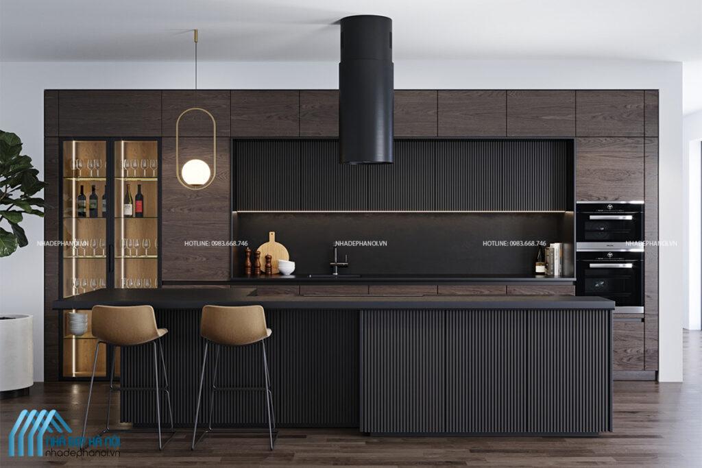 Không gian nội thất phòng bếp hiện đại tại chung cư Golden Land.
