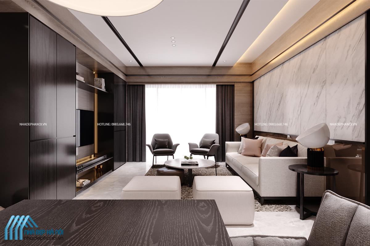 Mẫu thiết kế phòng khách đẹp hiện đại và thanh lịch dành cho chung cư Kim Văn Kim Lũ.