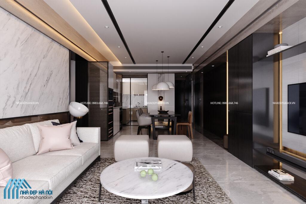 Thiết kế nội thất chung cư Kim Văn Kim Lũ 68m2 - 1 phòng ngủ đẹp, tiện nghi