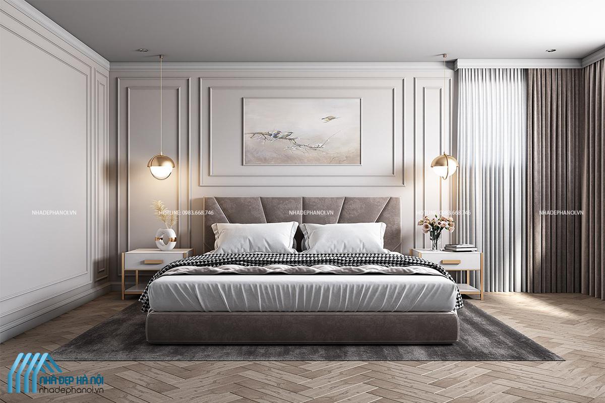 Thiết kế nội thất phòng ngủ tân cổ điển cho biệt thự tại Tây Mỗ, Hà Nội.