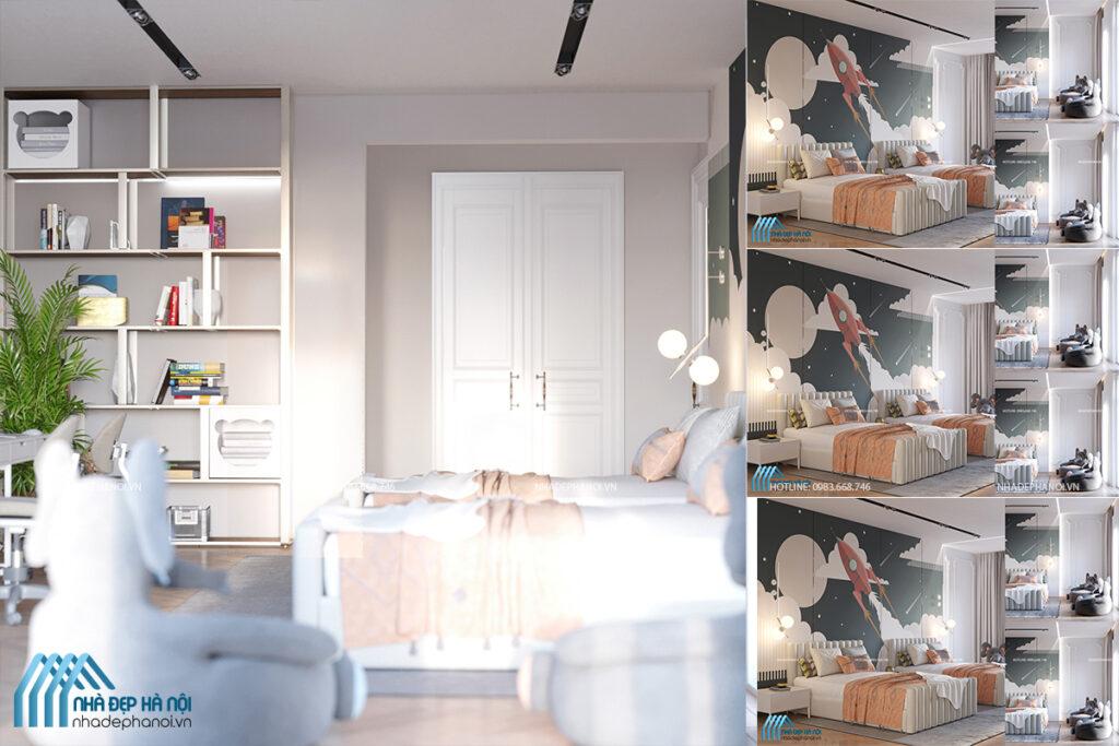 Thiết kế nội thất phòng ngủ cho trẻ em - Chị Như chung cư Eco Dream.
