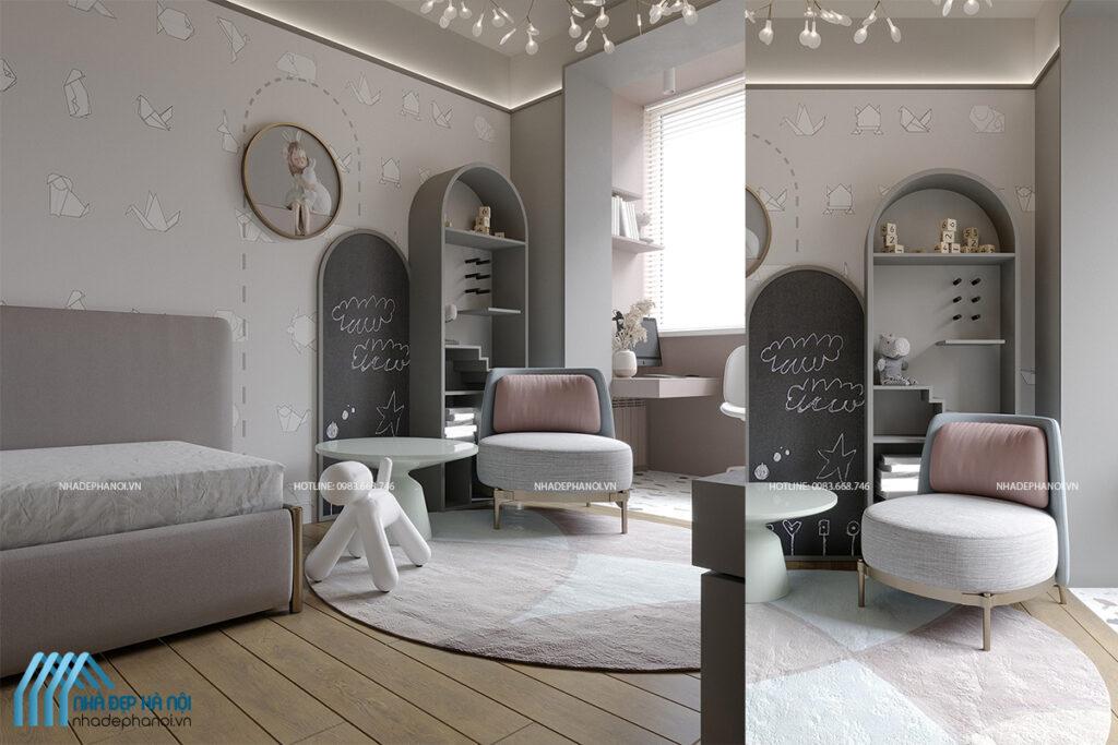 Mẫu thiết kế nội thất phòng trẻ em hiện đại xinh xắn và ngộ nghĩnh tại Tây Mỗ.