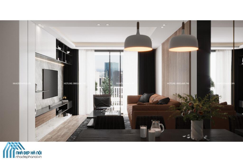 Thiết kế nội thất không gian phòng khách hiện đại đơn giản cho chung cư Vinhomes Ocean Park.