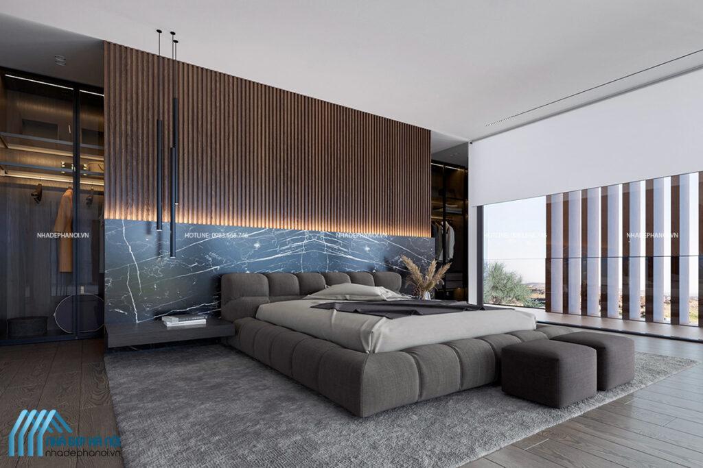 Thiết kế nội thất phòng ngủ biệt thự Vinhomes Gardenia hiện đại và tinh tế.