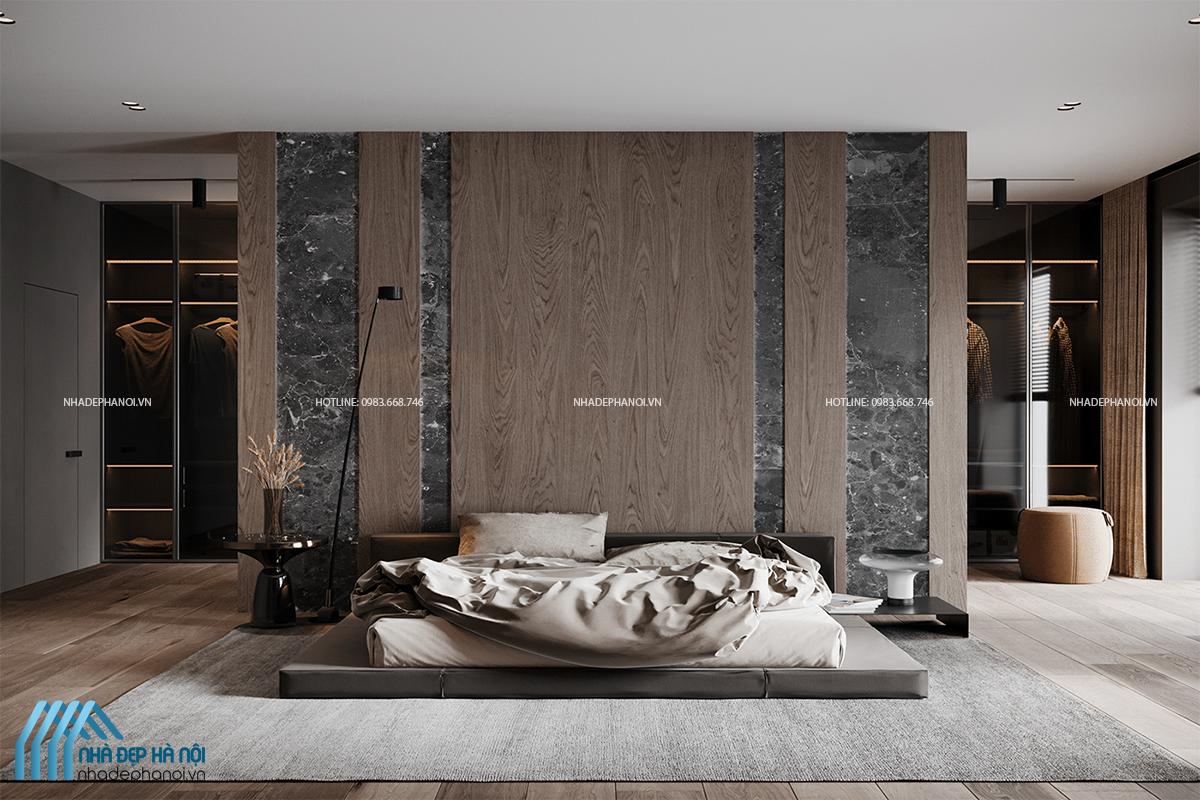 Thiết kế phòng ngủ tối giản, sang trọng và tiện ích tại biệt thự Geleximco