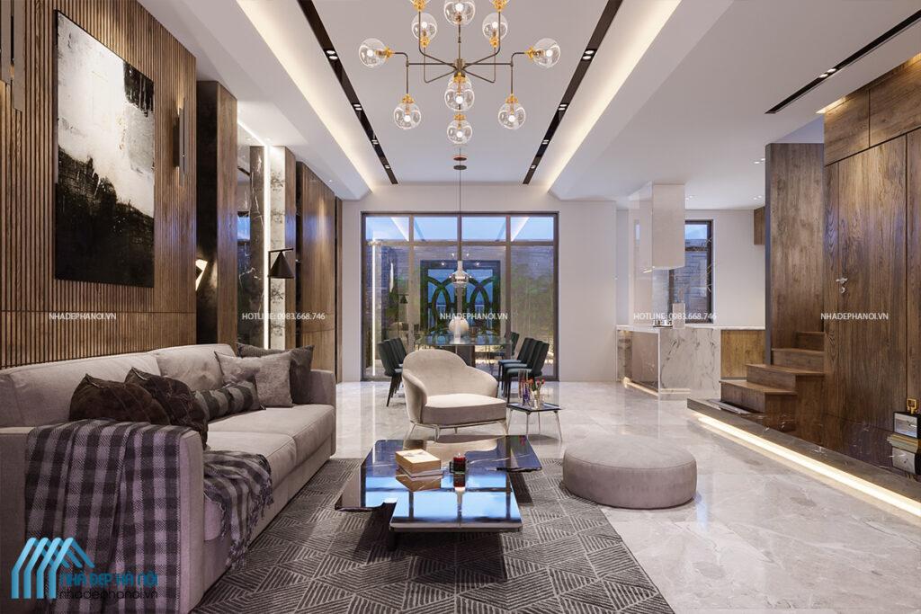 Thiết kế phòng khách hiện đại, năng động và đầy tiện nghi - nhà phố Đại Từ.