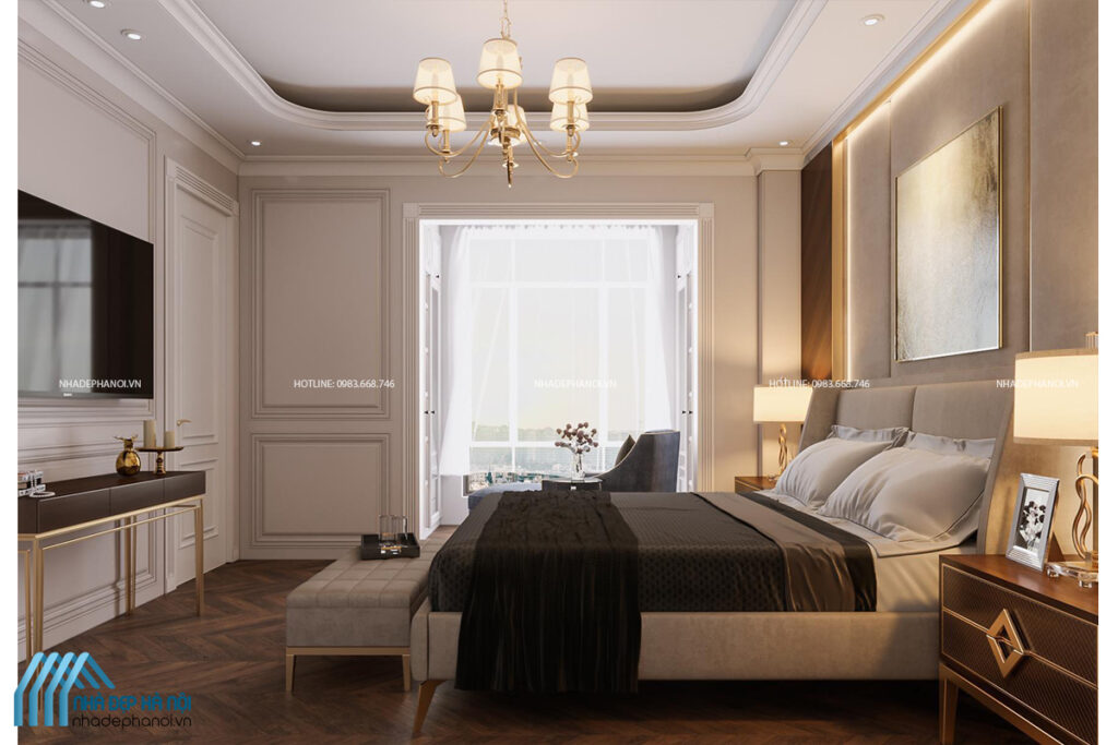 Nội thất phòng ngủ tân cổ điển cho Penthouse Five Star Westlake cao cấp.